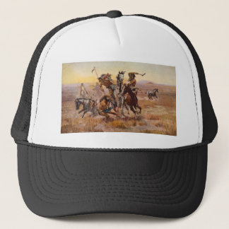 When Sioux and Blackfeet Met by Charles M. Russell Trucker Hat
