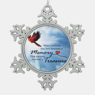When someone you love, Cardinal Snowflake Pewter Christmas Ornament