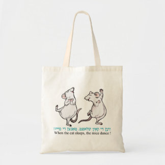 When the cat sleeps, the mice dance ! budget tote bag