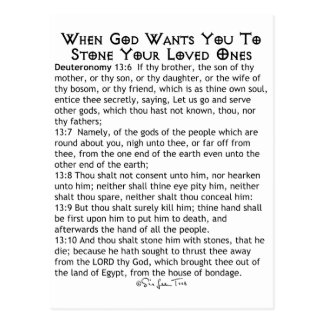 When To Stone Your Loved Ones Postcard