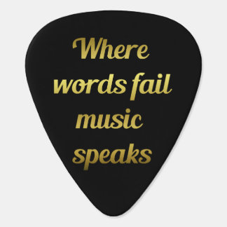 When words fail Music Speaks Quote Guitar Pick