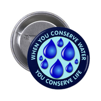 When You Conserve Water You Conserve Life Pinback Button