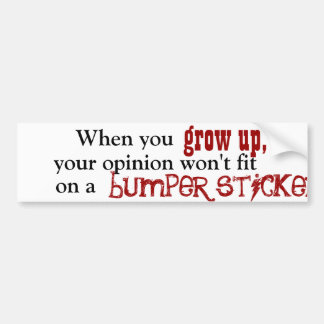 When you grow up, your opinion won't fit on a bump bumper sticker