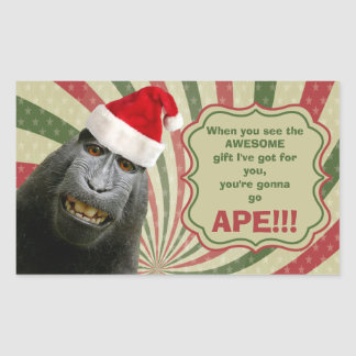 When You See the Awesome Gift You're Gonna Go Ape! Rectangular Sticker