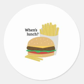 When's Lunch? Round Sticker