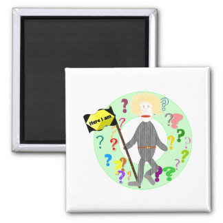 Where Am I? - Here I am 2 Inch Square Magnet