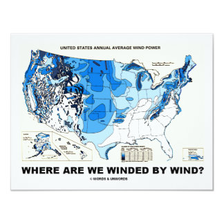 """Where Are We Winded By Wind? (Wind Power) 4.25"""" X 5.5"""" Invitation Card"""