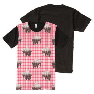 Where Buffalo Roam Red Gingham Fields by Aleta All-Over Print Shirt