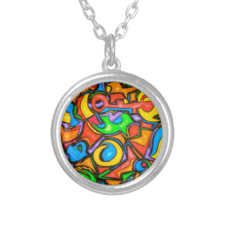 Where Did You Hide The Candy -Abstract Art Round Pendant Necklace