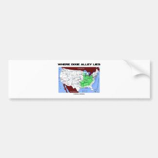 Where Dixie Alley Lies United States Map Bumper Sticker