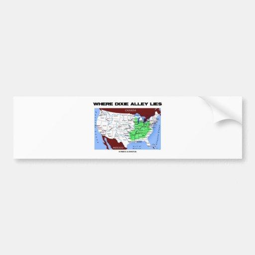 Where Dixie Alley Lies (United States Map) Car Bumper Sticker