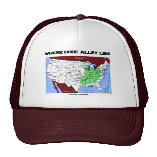 Where Dixie Alley Lies (United States Map) Trucker Hat