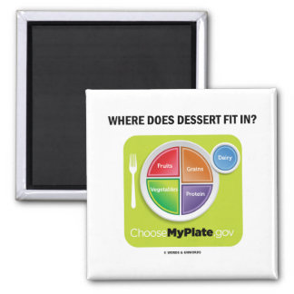 Where Does Dessert Fit In? (MyPlate Humor) Magnet