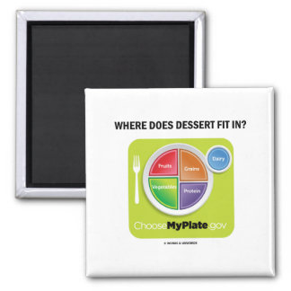 Where Does Dessert Fit In? (MyPlate Humor) Magnets