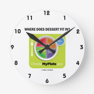 Where Does Dessert Fit In? (MyPlate Humor) Round Clock