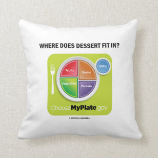 Where Does Dessert Fit In? (MyPlate Humor) Throw Pillow