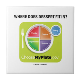 Where Does Dessert Fit In MyPlate Humor Tiles