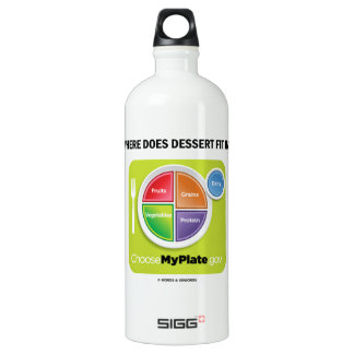 Where Does Dessert Fit In? (MyPlate Humor) Water Bottle