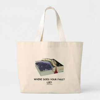 Where Does Your Fault Lie? (Geology Humor) Large Tote Bag