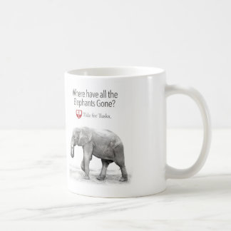 Where have all the elephants gone coffee cup classic white coffee mug
