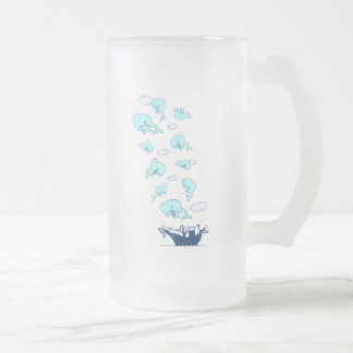 Where Have the Whales Gone? Frosted Glass Beer Mug