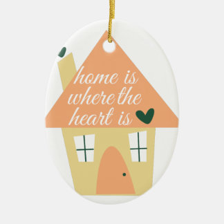 Where Heart Is Double-Sided Oval Ceramic Christmas Ornament