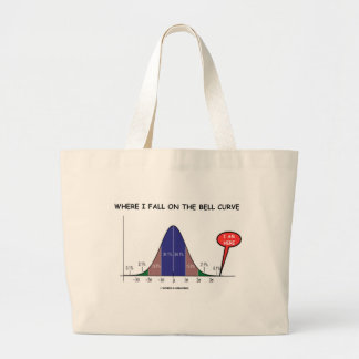 Where I Fall On The Bell Curve I Am Here Large Tote Bag