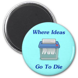Where Ideas Go To Die 2 Inch Round Magnet