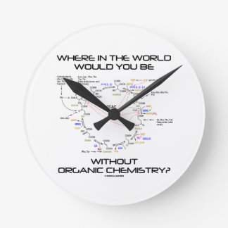 Where In The World Would You Be Organic Chemistry Round Wall Clocks