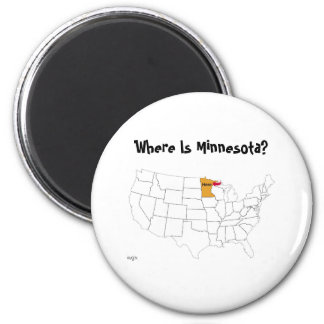 Where Is Minnesota? 2 Inch Round Magnet