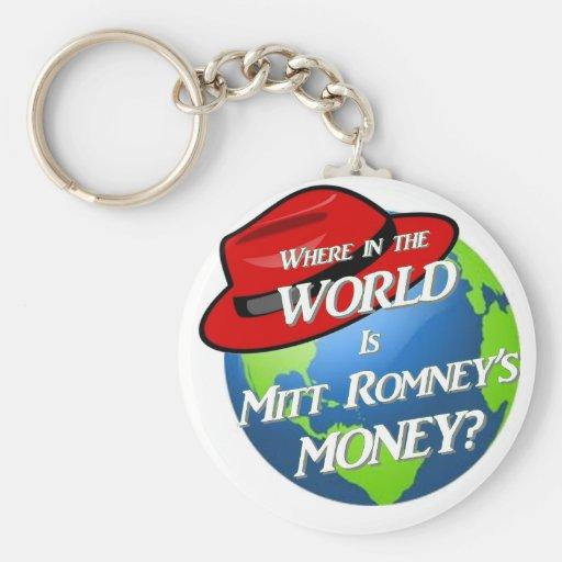 Where is Mitt's Money? Basic Round Button Keychain