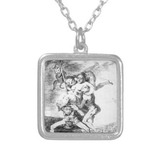 Where is mother going? by Francisco Goya Silver Plated Necklace