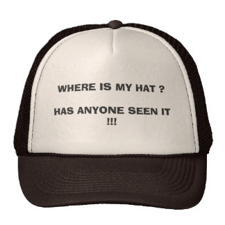 WHERE IS MY HAT ? HAS ANYONE SEEN IT !!!