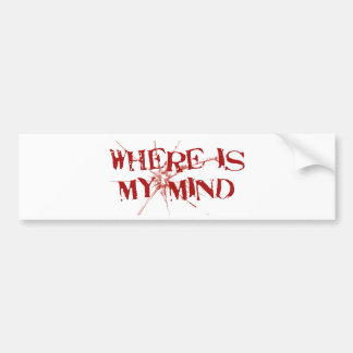 Where Is My Mind - Cracked Glass Red Messy Letters Bumper Sticker