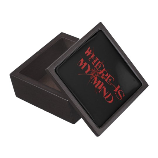 Where Is My Mind - Cracked Glass Red Messy Letters Jewelry Box