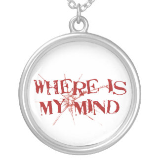Where Is My Mind - Cracked Glass Red Messy Letters Round Pendant Necklace