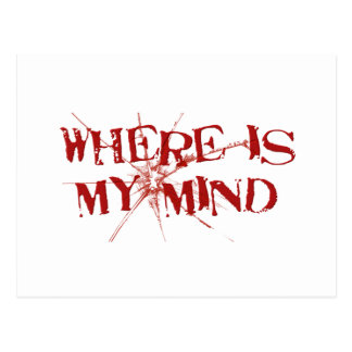 Where Is My Mind - Cracked Glass Red Messy Letters Post Card