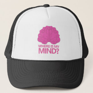 where is my mind? with pink brain trucker hat