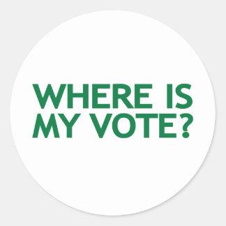 where is my vote (Iran Election) Classic Round Sticker