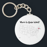 "Where Is Rhode Island? Keychain<br><div class=""desc"">Inspired by telephone conversations where we are asked &quot;Where is Saipan&quot; We came up with a design asking it and showing a map of it&#39;s location,  we then expanded the idea to include Guam and the 50 states.</div>"