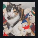 """Where Is The Cat Bandana<br><div class=""""desc"""">Macy,  a young,  full blooded Calico cat has climbed into a basket of snowmen to cuddle and sleep. Looking for more prints or products? Feel free to visit my store: http://www.zazzle.com/timelessmomentsphtgy  This photo was taken by Jennifer White with Timeless Moments Photography. All images are copyrighted &#169; Timeless Moments Photography.</div>"""