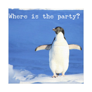 Where is the party? - funny penguin canvas