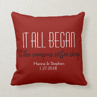 Where it All Began Red Love Story Pillow