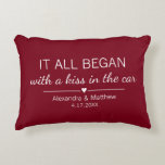 """Where It All Began Romantic Personalized Couples Accent Pillow<br><div class=""""desc"""">Where it all began... Cute pillow featuring the location and the date you met, with an adorable heart. Choose your own color and personalize this custom design with your own names and text. Perfect gift to tell your love story on Valentine's Day, your Anniversary or Wedding, and celebrate the beginning...</div>"""
