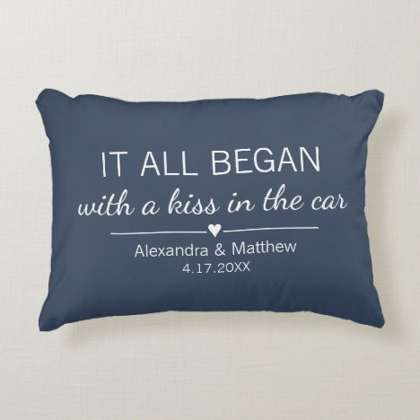 Where It All Began Romantic Personalized Couples Accent Pillow