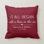 "Where It All Began Romantic Personalized Couples Throw Pillow<br><div class=""desc"">Where it all began... Cute pillow featuring the location and the date you met, with an adorable heart. Choose your own color and personalize this custom design with your own names and text. Perfect gift to tell your love story on Valentine's Day, your Anniversary or Wedding, and celebrate the beginning...</div>"