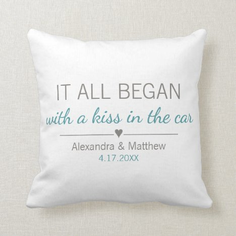 Where It All Began Romantic Personalized Couples Throw Pillow