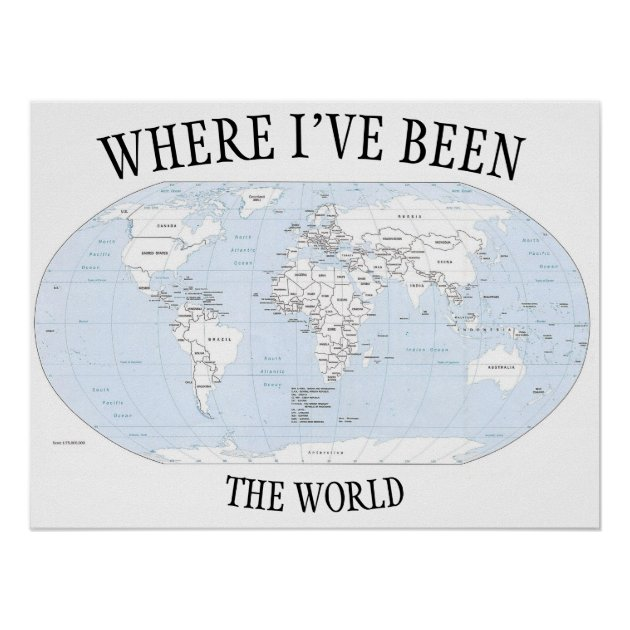 Image of: Where I Ve Been In The World Colorable Map Poster Zazzle Com