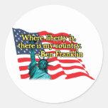 where liberty is v2 round sticker