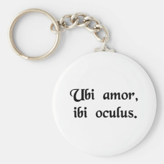 Where love is, there is insight. basic round button keychain